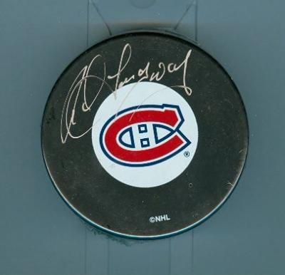 Rod Langway autographed Montreal Canadiens puck
