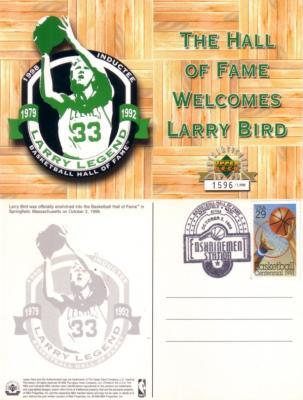 Larry Bird 1998 Hall of Fame commemorative UDA postcard ltd edit 1998