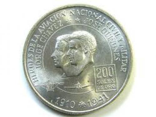 Coins; 200 DE ORO PERU COIN 1975
