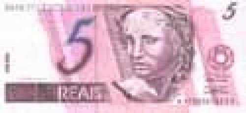 5 Reais; Issues of 1993-2002 (portrait watermark)