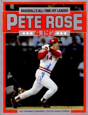 Pete Rose autographed Cincinnati Reds Hit 4192 commemorative book