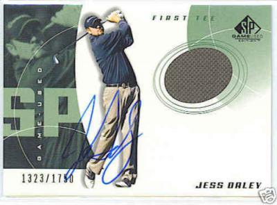 Jess Daley certified autograph worn shirt 2002 SP Golf card