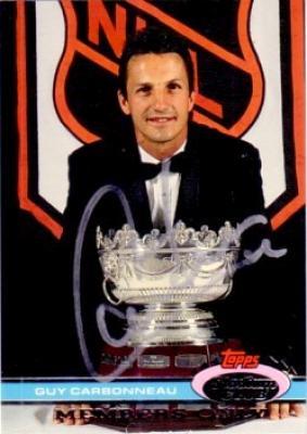 Guy Carbonneau autographed Stadium Club Selke Trophy winner card