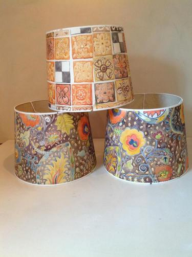 Hand Painted Lampshades, Lyrical Abstraction Paintings in Tetbury UK : Twig Antiques & Interiors