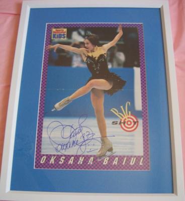 Oksana Baiul (skating) autographed 1994 Sports Illustrated for Kids mini poster matted & framed