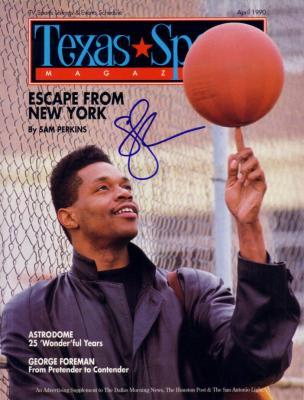 Sam Perkins autographed 1990 Texas Sports magazine cover