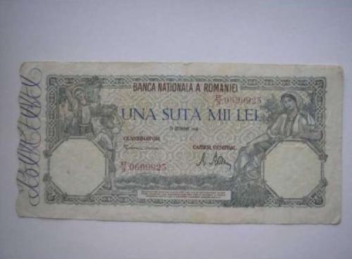 Banknote Romania 100000 Lei 1944/6