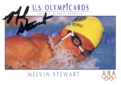 Melvin Stewart (swimming) autographed 1992 U.S. Olympic card