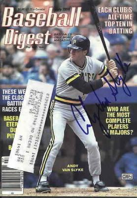 Andy Van Slyke autographed Pittsburgh Pirates 1988 Baseball Digest
