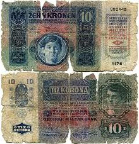 Banknotes; 10 Austrian Krona 1919 banknote