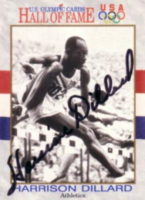 Harrison Dillard (track) autographed U.S. Olympic Hall of Fame card