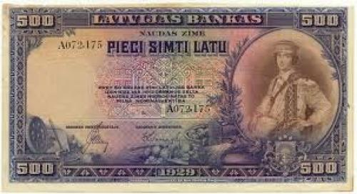 Banknotes;  Latvia - 500 LATU - Rare banknote - 1929 issue