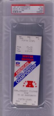 1987 AFC Championship Game FULL TICKET (John Elway & Broncos 38 Browns 33) PSA 6