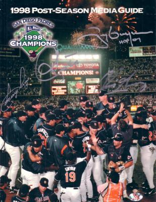 1998 San Diego Padres autographed Postseason Media Guide (Ken Caminiti Tony Gwynn)