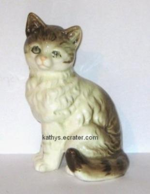 Nippon Japan Brown White Tabby Cat Animal Figurine