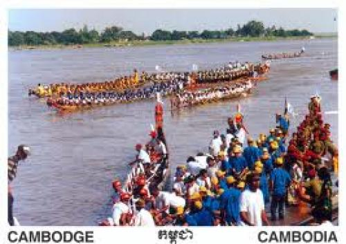 CAMBODIA POSTCARD. WATER FESTIVAL. MEKONG RIVER.