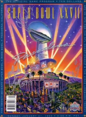 Mark Stepnoski John Gesek Nate Newton James Washington (Cowboys) autographed Super Bowl 27 program