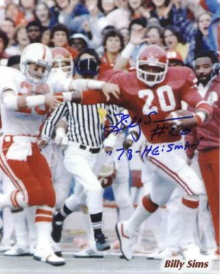 Billy Sims autographed Oklahoma Sooners 8x10 photo
