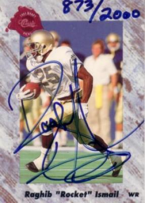 Raghib Rocket Ismail certified autograph Notre Dame 1991 Classic card