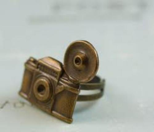 Camera ring vintage style brass retro