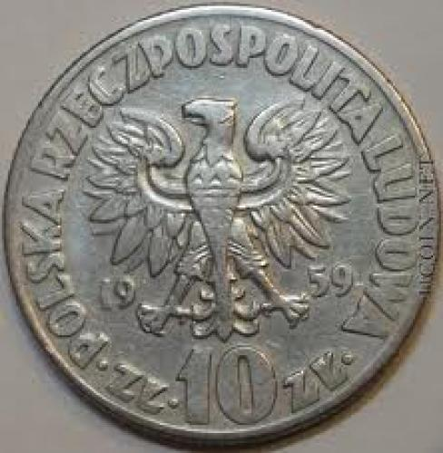 Coins; Poland 10 zlotych 1959 /Mikołaj Kopernik