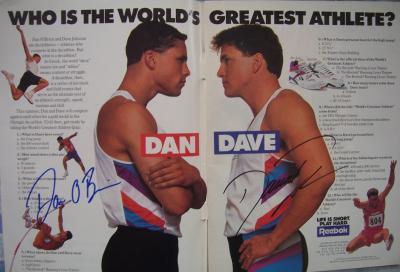 Dan O'Brien & Dave Johnson (decathlon) autographed 1992 Reebok magazine ad spread