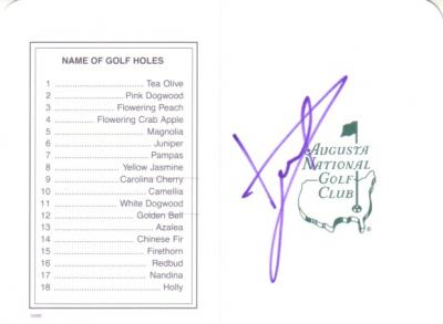 Luke Donald autographed Augusta National Masters scorecard