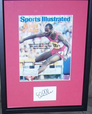 Edwin Moses autograph matted & framed with 1983 Sports Illustrated cover