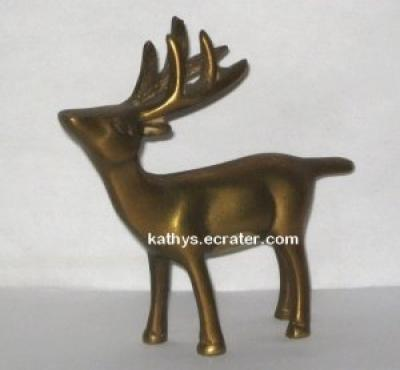 Brass Reindeer Deer Buck Animal Figurine