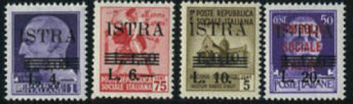 ISTRA L. overprints 4v; Year: 1945