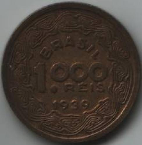 Coins; Brazil 1000 Real 1939; reverse