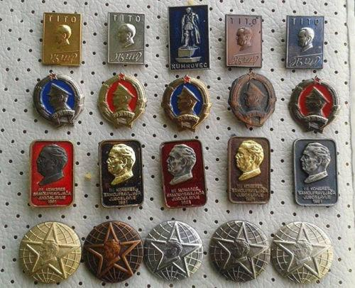 JOSIP BROZ TITO PINS COLLECTION 20 FANTASTIC VINTAGE RARE PINS 4 SETS YUGOSLAVIA
