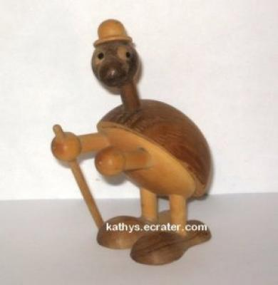 Carved Wood Turtle with Cane and Hat Figurine