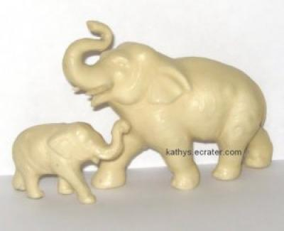 Celluloid over Plaster 2 Lot Mom & Baby Elephant Animal Figurine