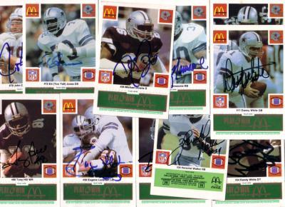 1986 Dallas Cowboys autographed McDonald's card set (Tony Dorsett Herschel Walker Randy White)