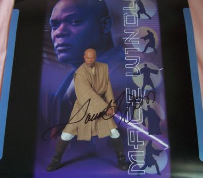 Samuel L. Jackson autographed Mace Windu Star Wars calendar page
