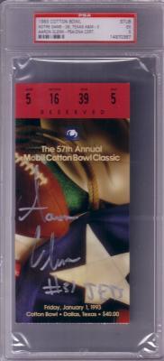 Aaron Glenn autographed 1993 Cotton Bowl ticket stub (PSA/DNA)