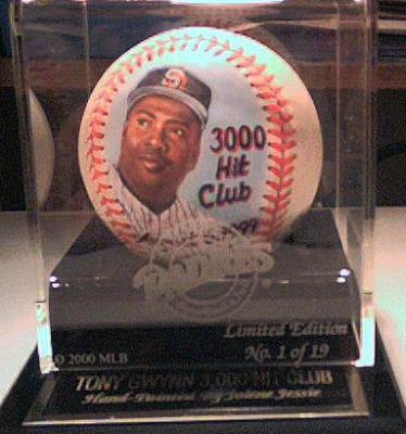 Tony Gwynn autographed 3000 Hit Club baseball painted by Jolene Jessie ltd edit 19 in etched case