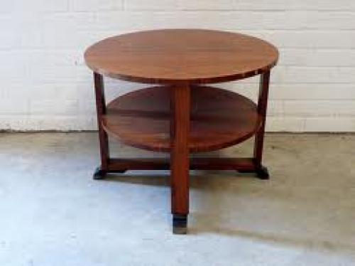 Antique art deco sofa table in walnut towards 1920