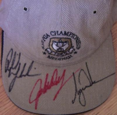 Tiger Woods Phil Mickelson John Daly autographed 1999 PGA Championship cap