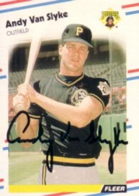 Andy Van Slyke autographed Pittsburgh Pirates 1988 Fleer card