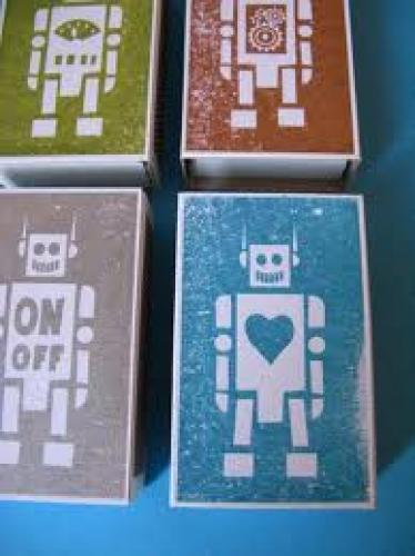 Matchboxes; Robot Match Boxes filled with lemon heads