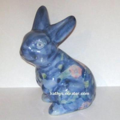 Ceramic Blue Chintz Painted Bunny Rabbit Animal Figurine