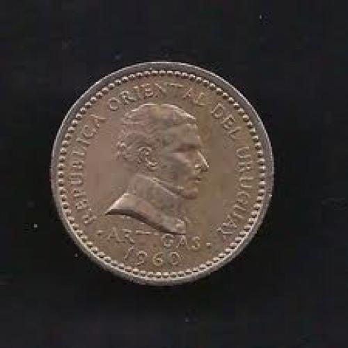 Coins; Uruguay 25 Centesimos 1960 Coin KM # 40
