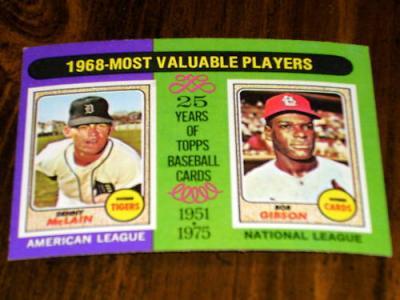 Bob Gibson & Denny McLain 1975 Topps MVPs card #206
