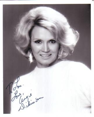 Angie Dickinson autographed vintage 8x10 portrait photo (inscribed To Lou)