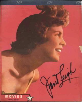 Janet Leigh autographed 1950 vintage 8x10 color photo tablet