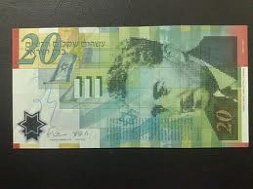 Banknotes; Israel..20 new shequalim 2008