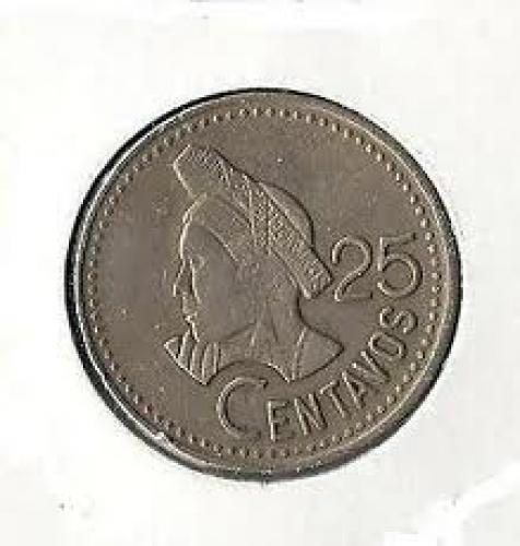 Coins; Guatemala ~ 25 Centavos (Reverse) ~ 1989