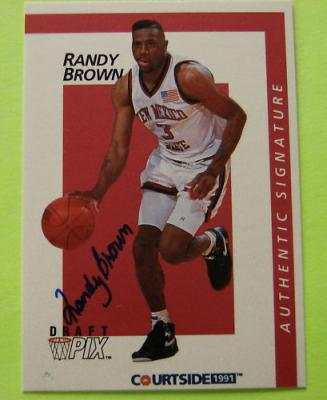 Randy Brown certified autograph New Mexico State 1991 Courtside card
